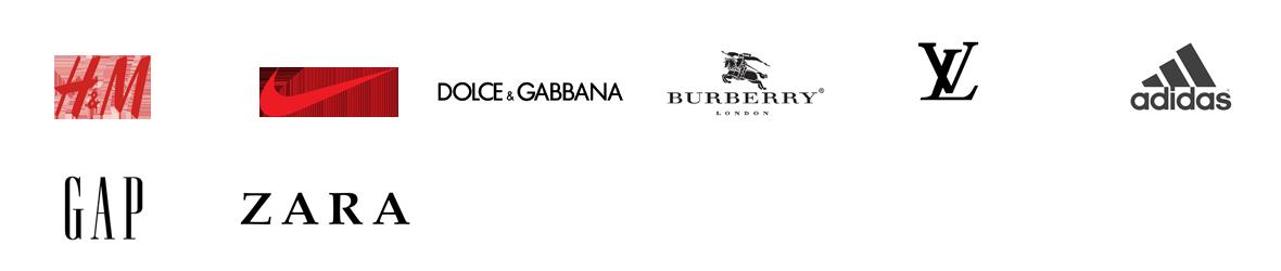 H&M, NIKE, DOLCE&GABBANA, BURBERRY, LOUIS VUITTON, adidas, GAP, ZARA