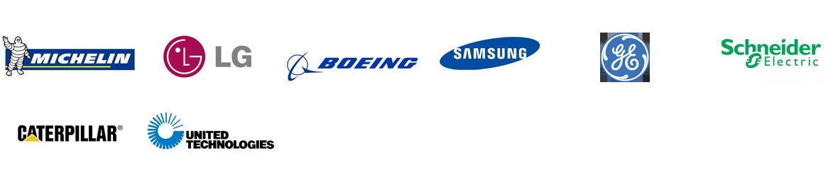 MICHELIN, LG, BOEING, SAMSUNG, General Electric, Schneider Electric, CATERPILLAR, UNITED TECHNOLOGIES