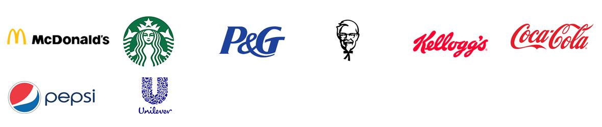 McDonald's, starbucks, P&G, KFC, Kellogg's,CocaCola, pepsi, Unilever